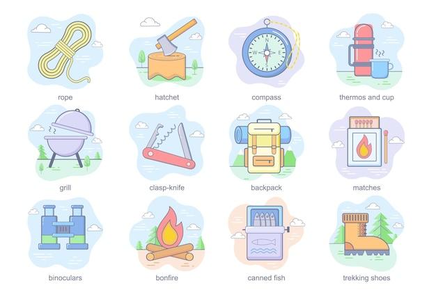 Campeggio e attività all'aperto concetto icone piatte set fascio di attrezzatura da escursionismo corda ascia bussola ...