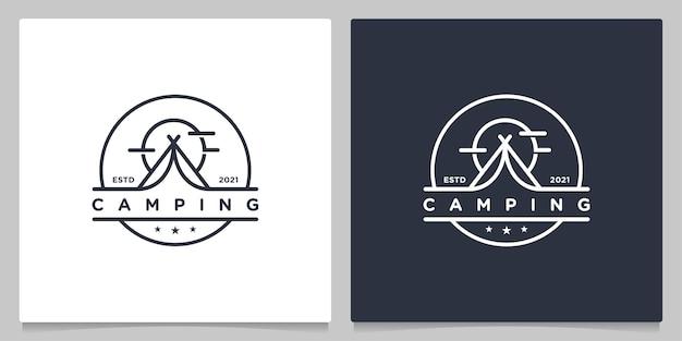 Campeggio avventura all'aria aperta per i cuccioli di scout che progettano un logo retrò vintage creativo