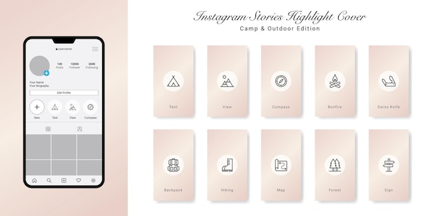 Le storie di instagram sul campeggio e all'aperto evidenziano il design delle copertine