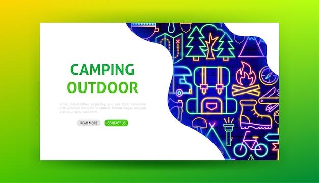 Pagina di destinazione al neon da campeggio all'aperto. illustrazione vettoriale della promozione del campo estivo.