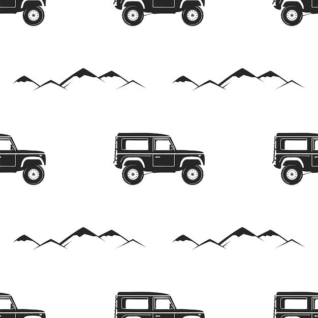 Camping pattern design - avventura retrò auto e simboli di montagne. all'aperto sfondo senza soluzione di continuità. stile vintage sagoma. bello per t-shirt da campeggio, abbigliamento, imballaggi, stampe. vettore di riserva.