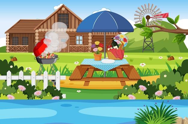 Campeggio o picnic nel parco naturale durante il giorno