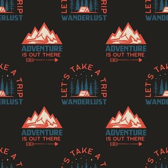 Campeggio seamless con badge di montagna. facciamo un viaggio. citazione di wanderlust. sfondo di viaggio. azione