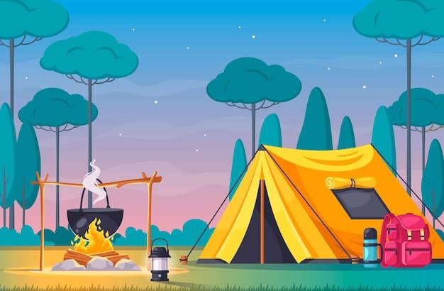 Campeggio con tenda fuoco e composizione cartone animato attrezzature