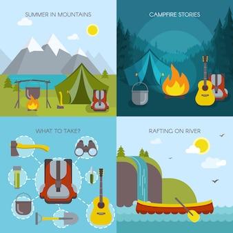 Insieme di concetto dell'illustrazione quadrata di campeggio