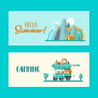 Campeggio. ricreazione estiva all'aperto. illustrazione vettoriale.