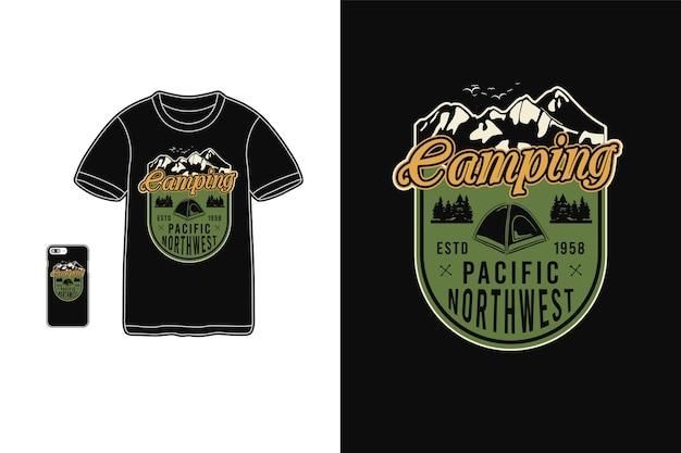 Campeggio, sagoma di merce t-shirt