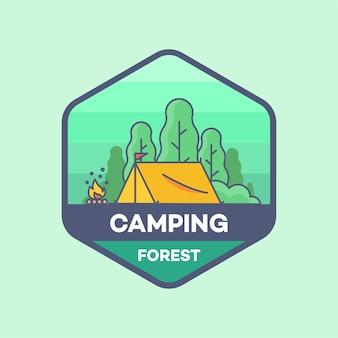 Tenda di campeggio nella foresta logo line minimal style vector illustration Vettore Premium