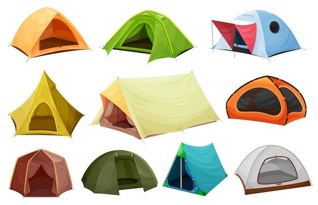 Tenda da campeggio icone isolate di attrezzature turistiche, avventura all'aria aperta e design di viaggio.