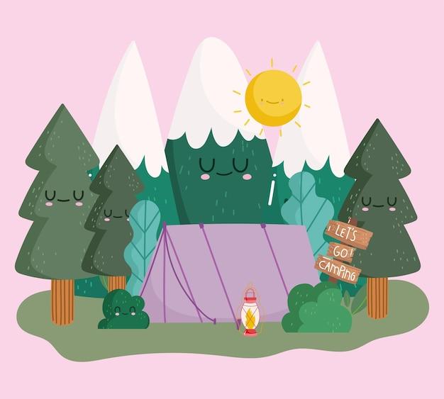 Tenda da campeggio montagne alberi foresta natura nel design in stile cartone animato