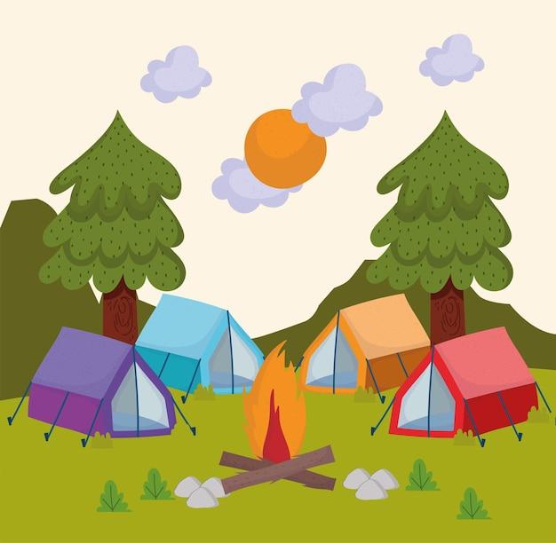 Scena di tende da campeggio