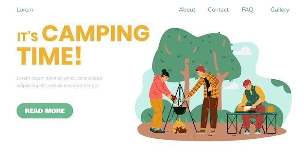 Banner di tempo di campeggio con persone che viaggiano come illustrazione vettoriale piatta di camper