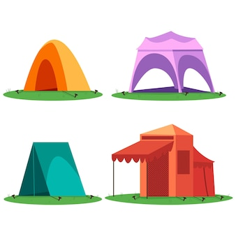Insieme del fumetto di tende da campeggio e turistico isolato