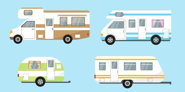 Rimorchi da campeggio, case mobili da viaggio o roulotte su sfondo blu.