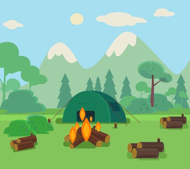 Illustrazione di viaggio in campeggio