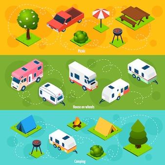 Campeggio e viaggi di fondo orizzontale isometrica