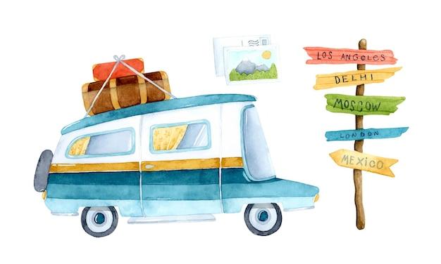 Insieme dell'acquerello degli elementi di viaggio del furgone di campeggio