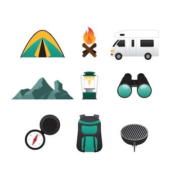 Vettore di campeggio impostato su sfondo bianco, illustrazione vettoriale