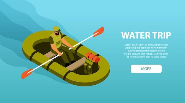 Banner web isometrico orizzontale di viaggio in acqua di campeggio con barca a remi escursionista