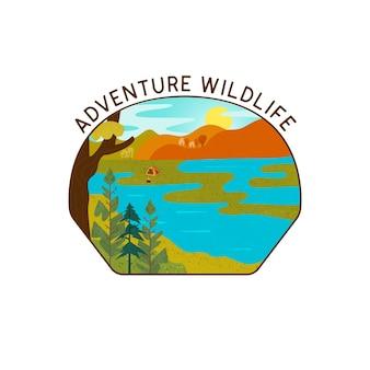 Campeggio nel disegno vettoriale della natura selvaggia