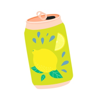 Lattina di simpatica bibita kawaii al limone limonata in un barattolo di alluminio riciclabile una bevanda estiva rinfrescante