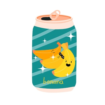 Lattina di soda con banana alluminio lattina di limonata kawaii frutta carina stock illustrazione vettoriale