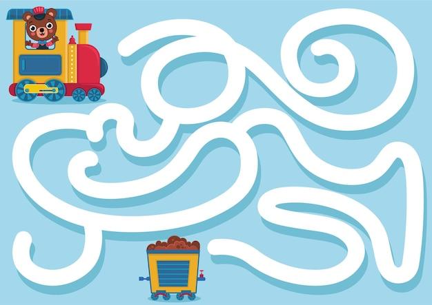 Puoi aiutare l'orso a trovare la sua carrozza del treno illustrazione vettoriale?