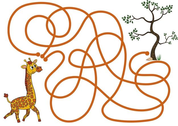 Puoi aiutare la giraffa a trovare il cibo gioco di puzzle vettoriale per bambini?