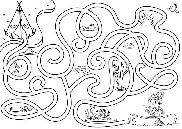 Puoi aiutare la ragazza nativa a trovare il villaggio gioco di puzzle vettoriale per bambini in bianco e nero?