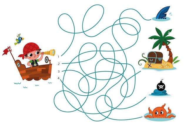 Puoi aiutare il pirata a trovare il suo tesoro puzzle vettoriale per bambini?