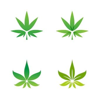 Modello di progettazione dell'illustrazione del simbolo del segno della marijuana di canabis