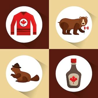 Collezione canada orso castoro jersey e sciroppo d'acero