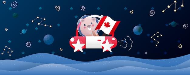 Illustrazione di giorno del canada con il castoro sveglio nello spazio.