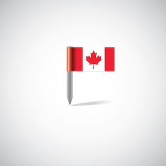 Perno della bandiera del canada su sfondo bianco