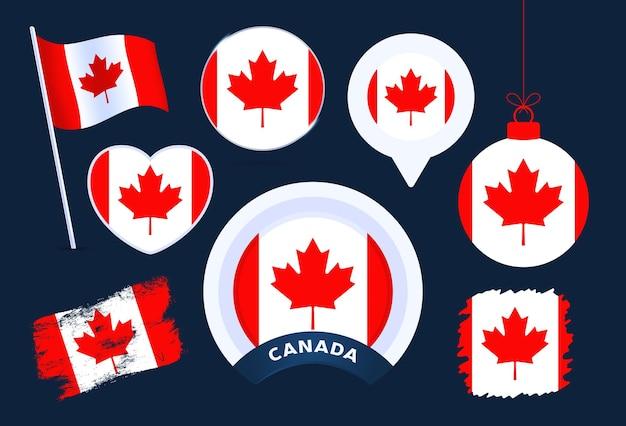 Accumulazione di vettore della bandiera del canada. grande set di elementi di design della bandiera nazionale in diverse forme per le festività pubbliche e nazionali in stile piatto.