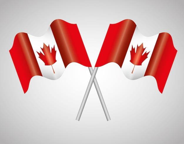 Le bandiere del canada hanno attraversato progettazione dell'illustrazione di vettore dell'emblema