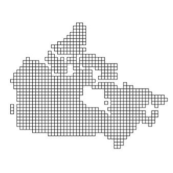 Siluetta della mappa del canada dalla struttura del mosaico del reticolo nero dei quadrati. illustrazione vettoriale.