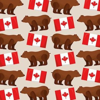 Bandiere modello canada e immagine di orso grizzly