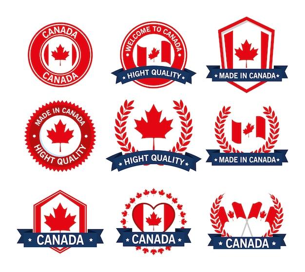 Le guarnizioni di qualità del canada hanno fissato la progettazione dell'illustrazione di vettore dell'icona