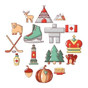 Insieme dell'icona di viaggio del canada, stile del fumetto