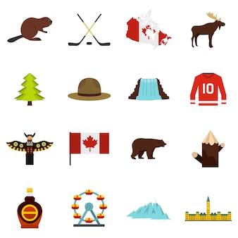 Icone di viaggio canada impostato in stile piano