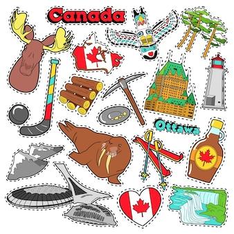 Canada travel scrapbook adesivi, patch, badge per stampe con sciroppo d'acero, cascate del niagara ed elementi canadesi. doodle di stile comico