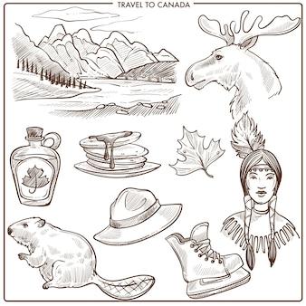 Punti di riferimento di turismo di viaggio del canada e schizzo di simboli della cultura.