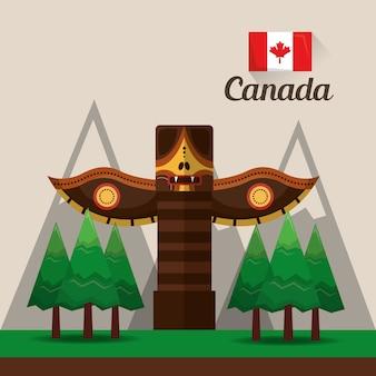 Bandiera di montagne canadesi totem pino antico