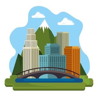Progettazione canadese dell'illustrazione di vettore dell'icona di scena di paesaggio urbano