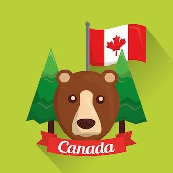Orso grizzly canadese alberi di pino e bandiera