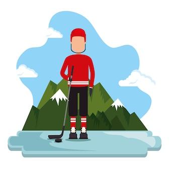 Progettazione canadese dell'illustrazione di vettore di scena del giocatore di hockey