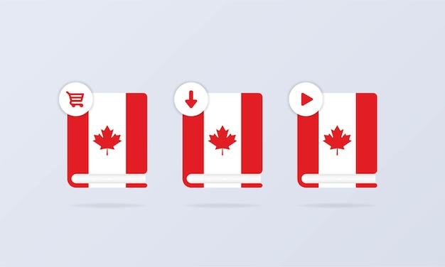 Insieme dell'icona del corso online di lingua canadese