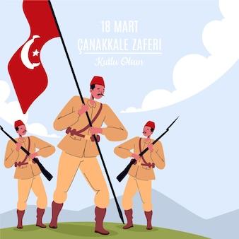 Illustrazione di canakkale con soldati e bandiera