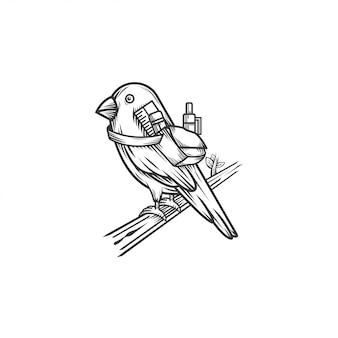 Canarino con illustrazione di logo stazionario Vettore Premium